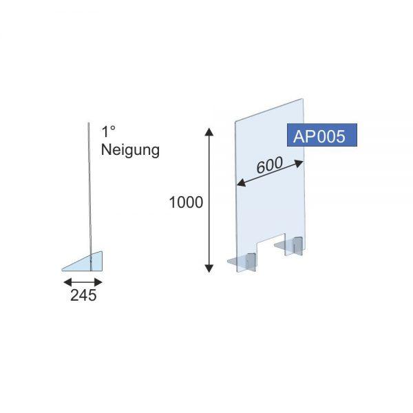 Thekenschutz gesteckt, 600x1000x8 mm